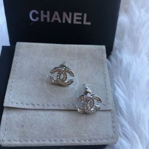 Authentic Chanel Silver Rhinestone Earrings